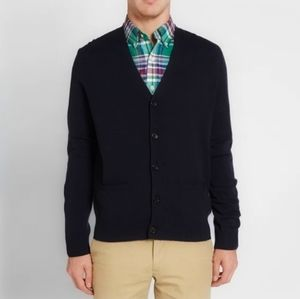 Mens Merino Wool Elbow Patch Button Up Sweater XLT
